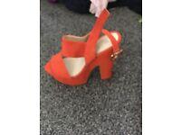 summer sandalsheels size 6 worn once