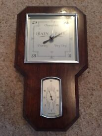 Antique Wooden Cased Deco Barometer / Thermometer