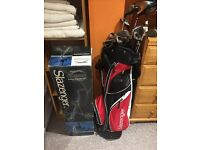 Set of golf clubs and lightweight trolley good condition