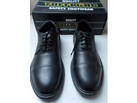 TUFFKING SAFETY FOOTWEAR - SIZE 12 - BLACK EXECUTIVE OXFORD SHOE - STEEL TOE CAP