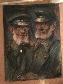 Antique Military Russian Painting of Two Generals