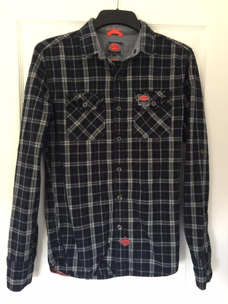 Mens navy blue superdry shirt size small