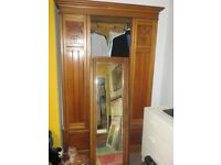 original Victorian Edwardian satinwood wardrobe