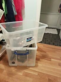 Plastic storage boxes (50 and 84 litres) with lids