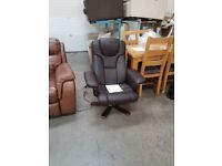 PRE OWNED Swivel Recliner Chair in Dark Brown Leather