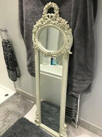 Shabby chic full length mirror in cream carved