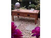 Oak furniture land original rustic oak coffee table with four drawers