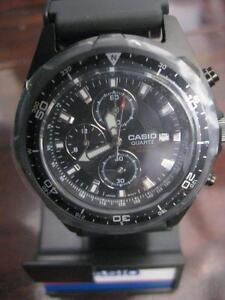 Casio Men Analog Sports Chronograph Wrist Watch. Rotating Bezel. Luminous Hand. 100M Water Resistant. 48mm. Date. NEW