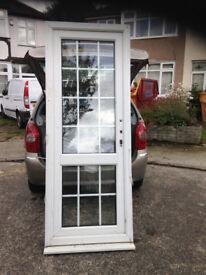 White upvc door with georgian clear glazing