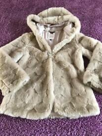 Girls m&s fake fur coat age 11-12