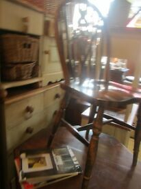 KITCHEN CHAIRS PAINTED & UNPAINTED PINE WINDSOR WHEEL BACK SOLID WOOD