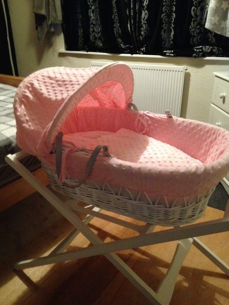 White and pink Moses basket!