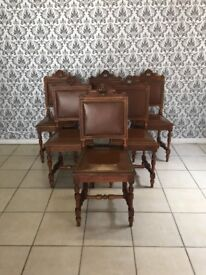 6 chairs Oak ,French style