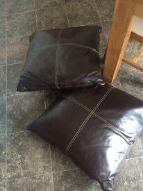 Two large real leather floor cushions