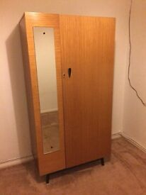 Retro wardrobe with external mirror and internal shelves and hanging bar