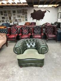 Stunning quality green leather chesterfield club chair UK delivery