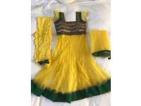Asian Mehndi Yellow/Green/Purple Gown Dress