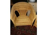 2 X High Arm Wicker Chairs