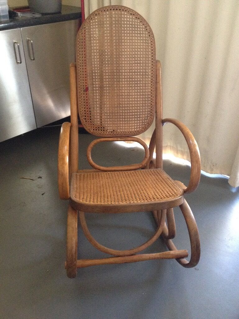 Vintage rattan rocking chair - Vintage Rattan Rocking Chair From Usa