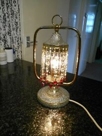 small vintage table lamp encrusted with swarovski crystals /red hearts