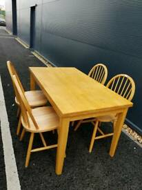 Pine Dining table x 4 chairs + Delivery
