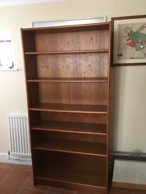 "Teak bookcase 6 adjustable shelves, 5.11"" x 35"""