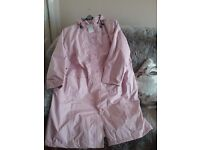 NEW LADIES ANTHOLOGY PINK COAT WITH HOOD , SIZE 32 , SELLING FOR £40.00 OR NEAR OFFER