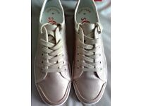 LADIES S.OLIVER CHAMPAGNE TRAINERS/PLIMSOLLS, UK SIZE 7, RRP 49.99, BRAND NEW IN BOX
