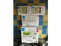 Mam bottles (6 small) with steriliser set and feed and soothe set! Brand new in boxes never used