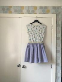 Next Girls summer dress with beautiful colourful flowers and light blue