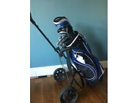 Complete Fazer 404 gold club set, bag and trolley