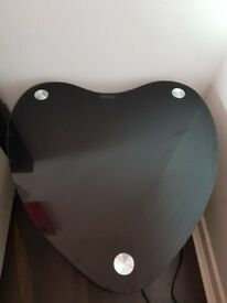 2 black heart shaped glass bedside tables