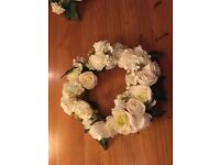 Wedding Table Decorations / Olive green & cream floral displays .
