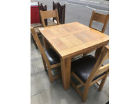 Oak Kitchen/Dining Table with 4 Oak Chairs - In Good Condition- Free Local Delivery