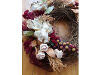 NEW Handmade Rustic Natural Floral Wreath Red Cream Ivory Green Twig Berries Decor Wedding CHRISTMAS