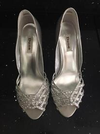 Dune silver heeled shoes size 7