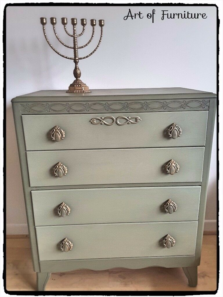 Chest Of 4 Drawers Hand Painted in ANNIE SLOAN Olive Chalk Paint.