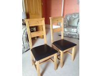 6 Oak and leather dining chairs