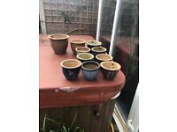 mix of glazed garden pots 10 in total