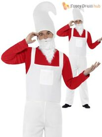 MENS RED GARDEN GNOME / SMURF FANCY DRESS OUTFIT SIZE M PARTY OR STAG DO 2 AVAILABLE