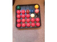 Set of snooker balls , scoreboard