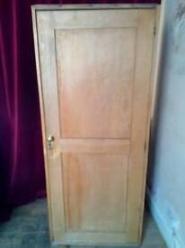 Tall Antique Solid Wood Cupboard With Lockable Drawer