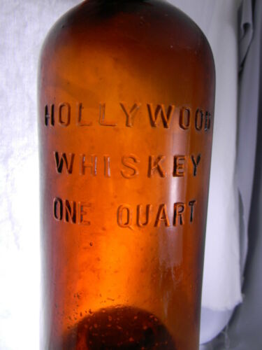 Tool Top Dark Amber Hollywood Whiskey Bottle Bold Embossing One, 1, Quart