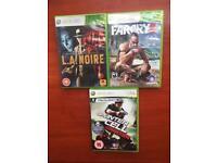 XBOX 360 Games - FARCRY3, L.A.NOIRE, SPLINTER CELL CONVICTION