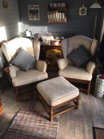 Errol armchairs and footstool