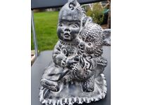 Large stone concrete garden ornament - Baby on a pillow