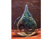 Rare large Mdina glass ice cut vase