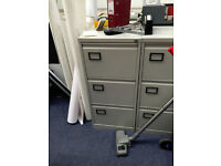 Metal filing cabinet.