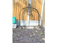 Large Antique Wishing well wrought iron pulley frame