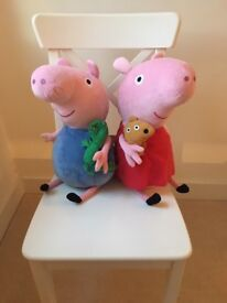 Peppa Pig and George Pig 40cm cuddly soft toy teddy